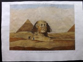 Description de l'Egypte C1820 HCol Print Vue du Sphinx et de la Seconde Pyramide